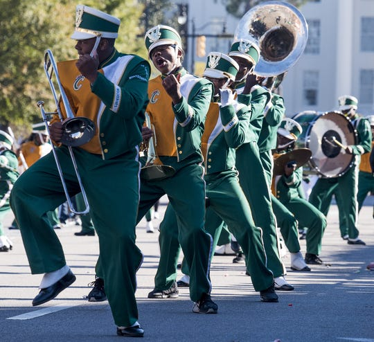 The Carver High School marching band performs in the Turkey Day Classic Parade in downtown Montgomery, Ala. on Thursday November 23, 2017.