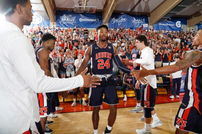 Nov 19, 2018; Lahaina, HI, USA; Auburn Tigers forward Anfernee McLemore (24) is introduced before the game against the Xavier Musketeers during the first round games of the Maui Jim Maui Invitational at Lahaina Civic Center. Mandatory Credit: Brian Spurlock-USA TODAY Sports