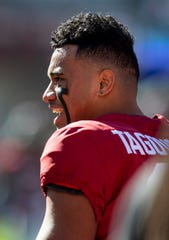 Alabama quarterback Tua Tagovailoa (13) before the Alabama vs. Citadel game at Bryant-Denny Stadium in Tuscaloosa, Ala., on Saturday November 17, 2018.