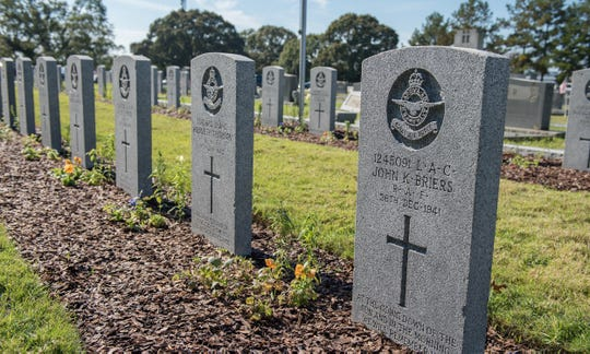 Graves of Royal Air Force service members from previous conflicts on display at Maxwell's Oakwood Cemetery Annex, Nov. 11, in Montgomery.