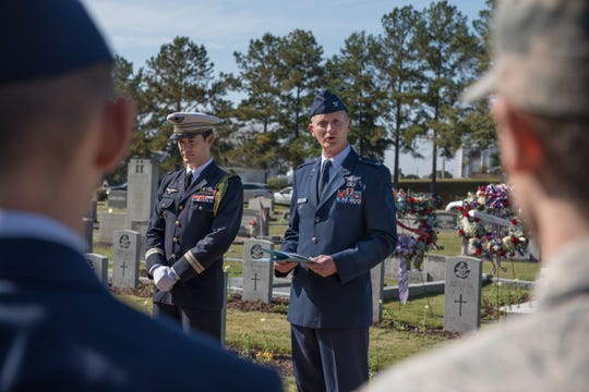 Col. Paul Nelson, Surgeon General's Chair to Air University, speaks during the Remembrance Day Service, Nov. 11, 2018, at the Oakwood Cemetery Annex in Montgomery.