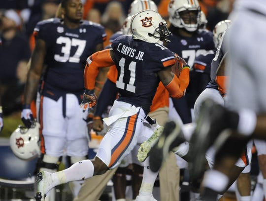 Auburn cornerback Chris Davis (11) returns a missed field goal 109 yards for a game ending touchdown against Alabama in the Iron Bowl at Jordan-Hare Stadium in Auburn, Ala. on Saturday November 30, 2013.