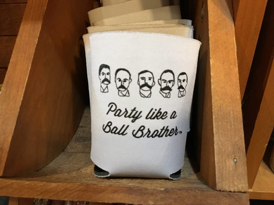 "A ""Party like a Ball Brother"" drink sleeve, sold at the Minnetrista Orchard Shop."