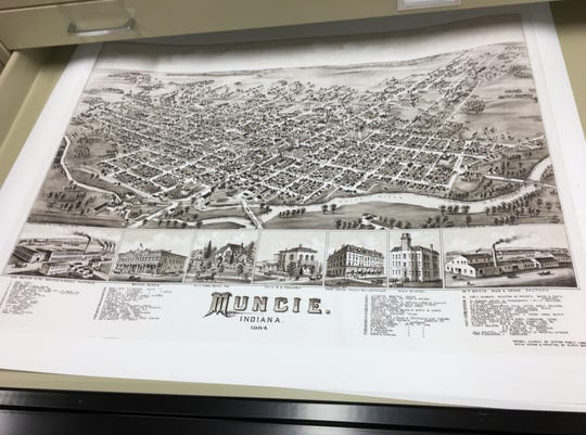 Muncie Map Co., located at 111 E. Adams St., can restore historic maps and drawings. This one pictures Muncie in 1884.