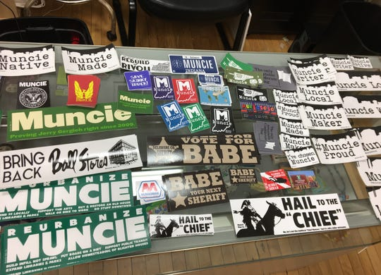 Muncie Map Co., located at 111 E. Adams St., offers a variety of Muncie-related stickers designed by co-owner Andy Shears.