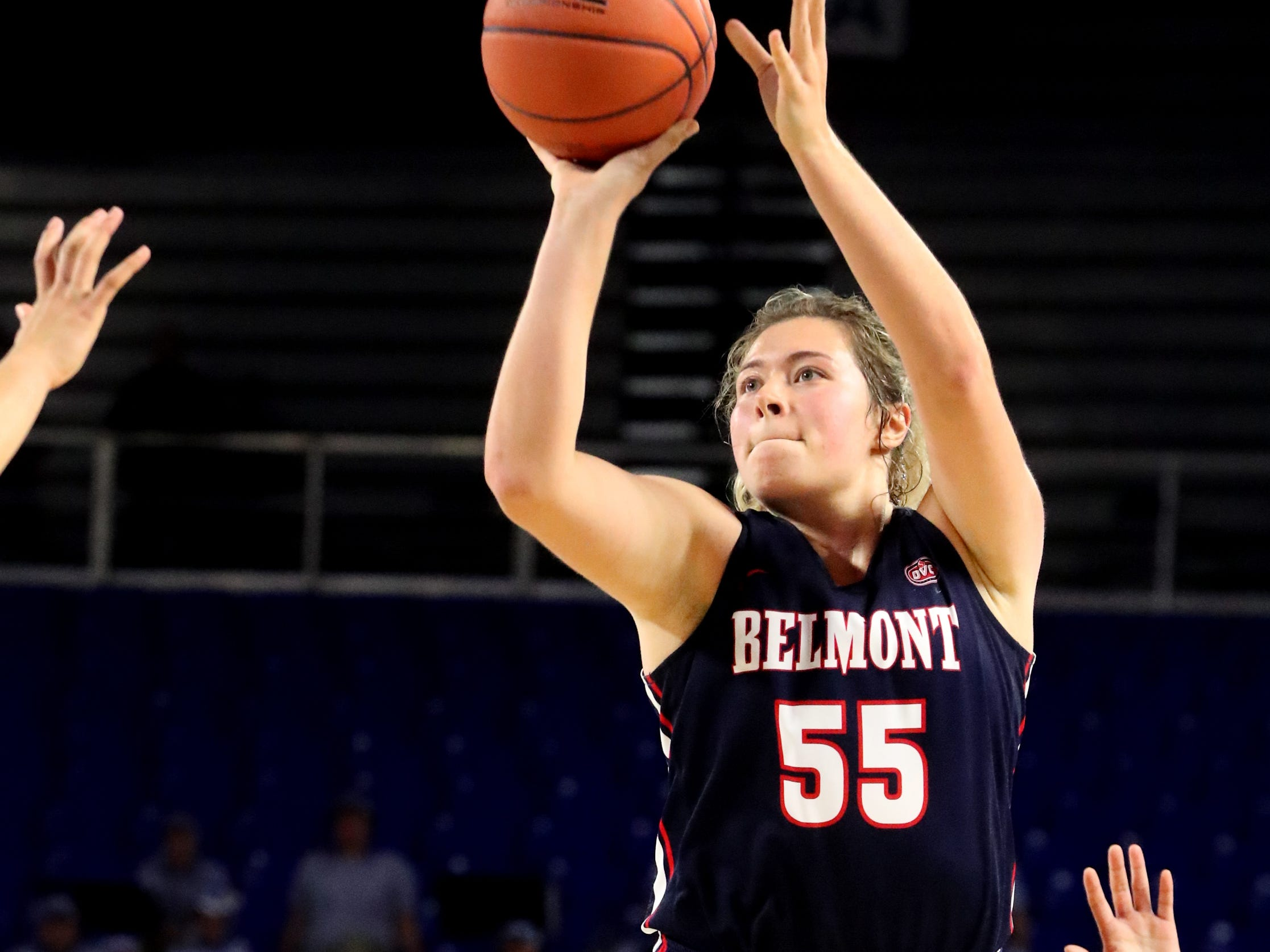 Belmont's Maddie Wright (55) goes up for a basket against MTSU during the game at MTSU on Monday, Nov. 19, 2018.