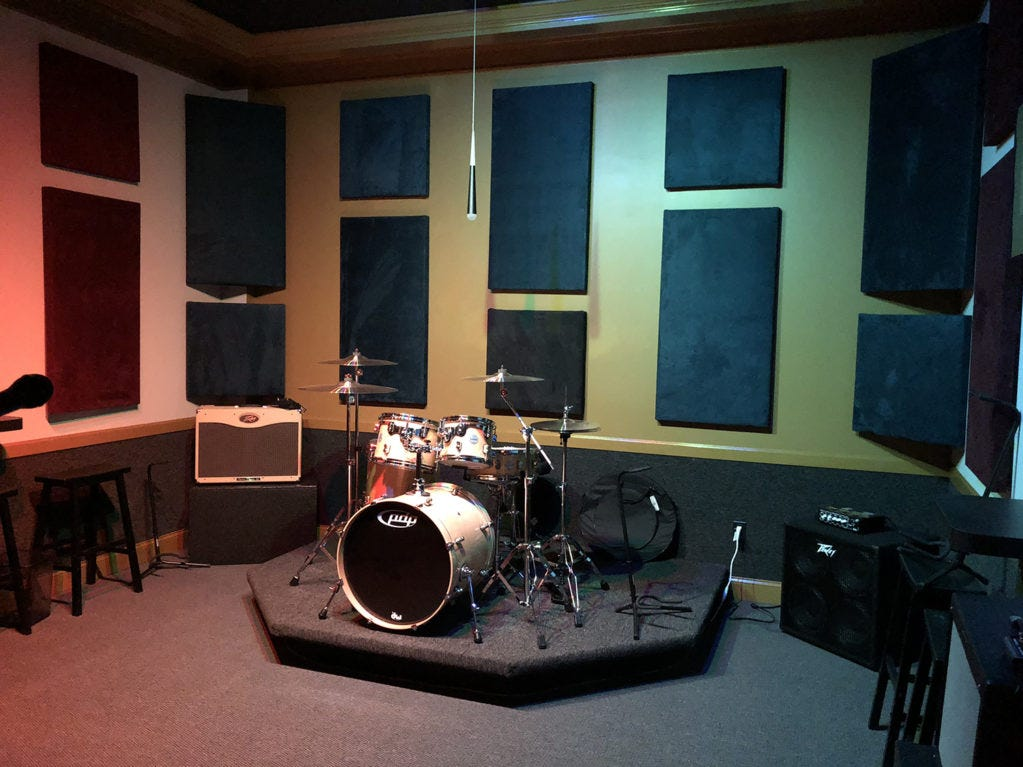 Ridenour Rehearsal Studios, 1203 Park Ave. in Murfreesboro, offers everything bands need to practice. You don't even need to bring your drum set, there's a kit already set up in each room.