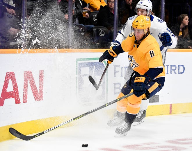Nashville Predators center Kyle Turris (8) has been on IR since Nov. 25, but says he's close to returning to action.