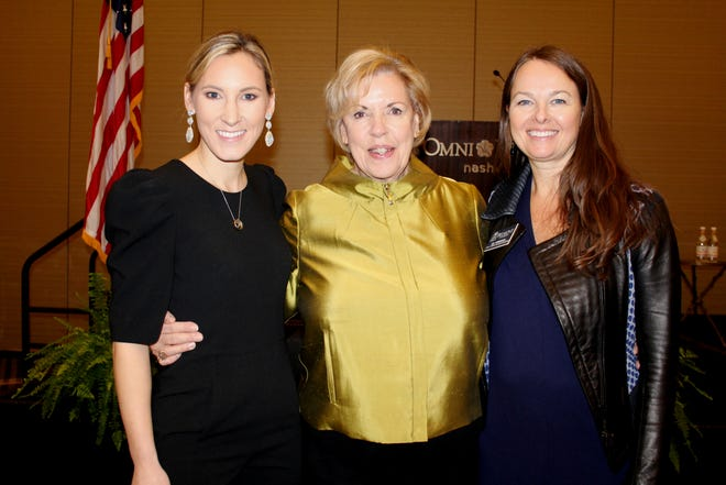 Concetta Smith, left, Diane Hayes and Jill Robinson attend the YLC fall leadership luncheon.