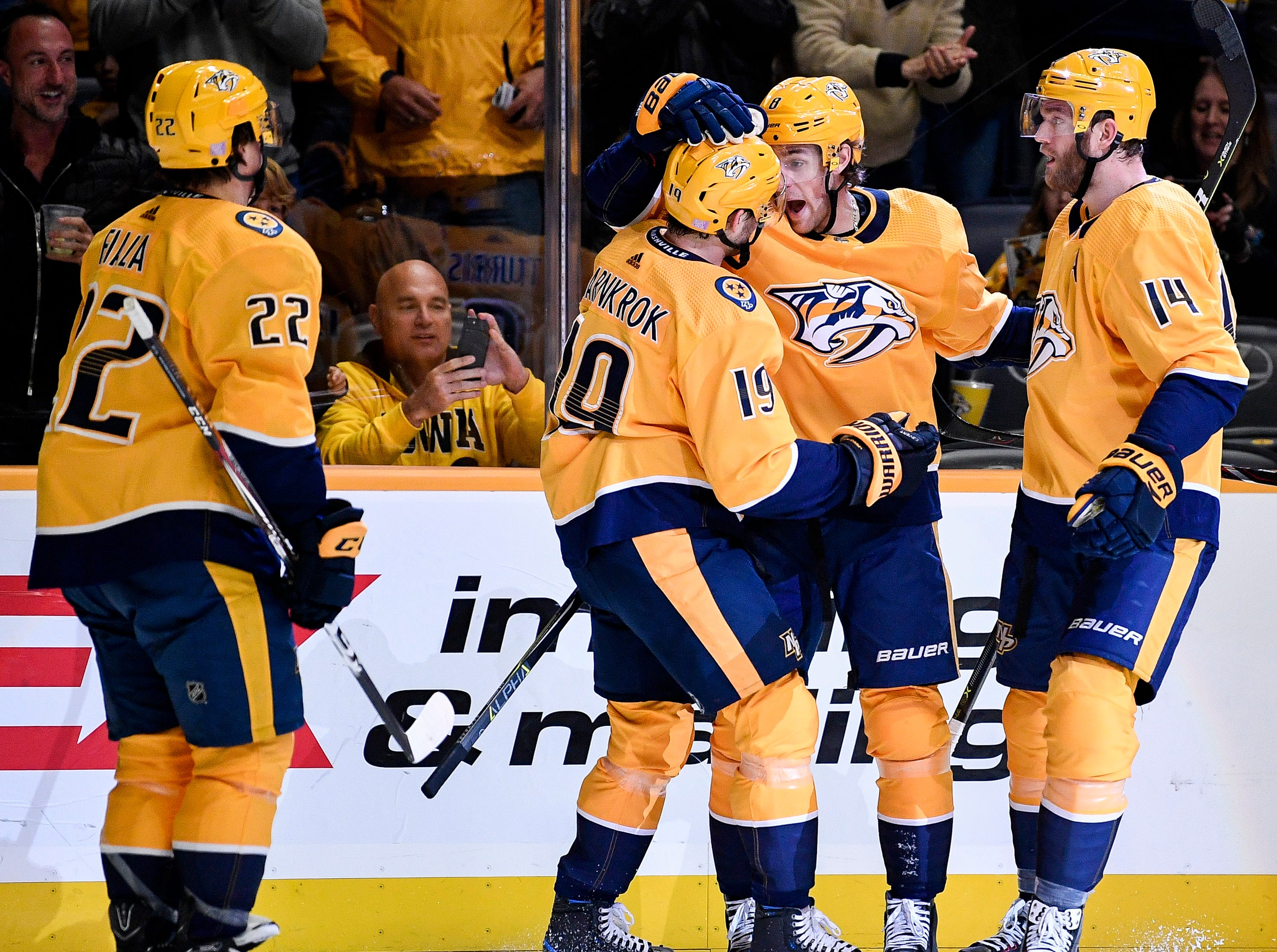 Nashville Predators center Kyle Turris (8) reacts after scoring against the Tampa Bay Lightning during the first period at Bridgestone Arena in Nashville, Tenn., Monday, Nov. 19, 2018.