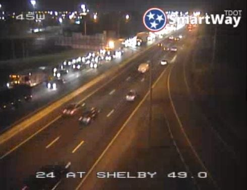 A still image from a TDOT traffic camera shows the back-up after a crash shut down eastbound I-25 near downtown Nashville on the morning of Nov. 11, 2018.