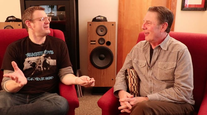 Kevin Kadish, left, talks to Bart Herbison about songwriting.