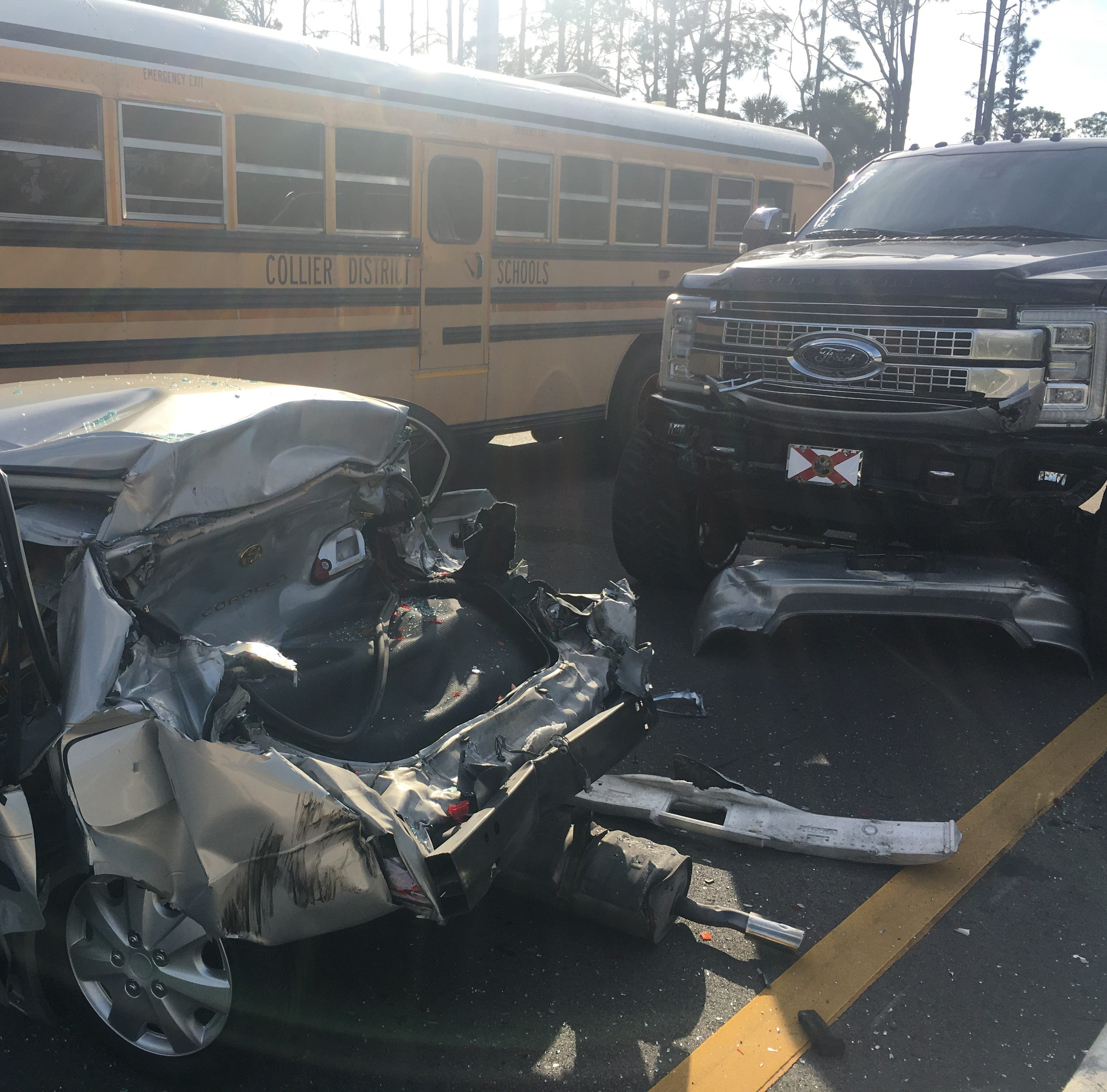 One person injured in Collier County school bus crash