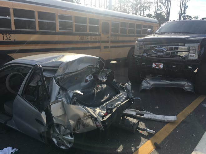 One person is injured after a three-vehicle crash involving a Collier County school bus Monday afternoon at Golden Gate Boulevard and 2nd Street. There were 32 students on the bust but none suffered injuries.