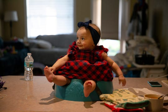 Lucia Torres sits on the counter as she waits for her mother to prepare her dinner Monday, Nov. 19, 2018, at their home in Naples Park.