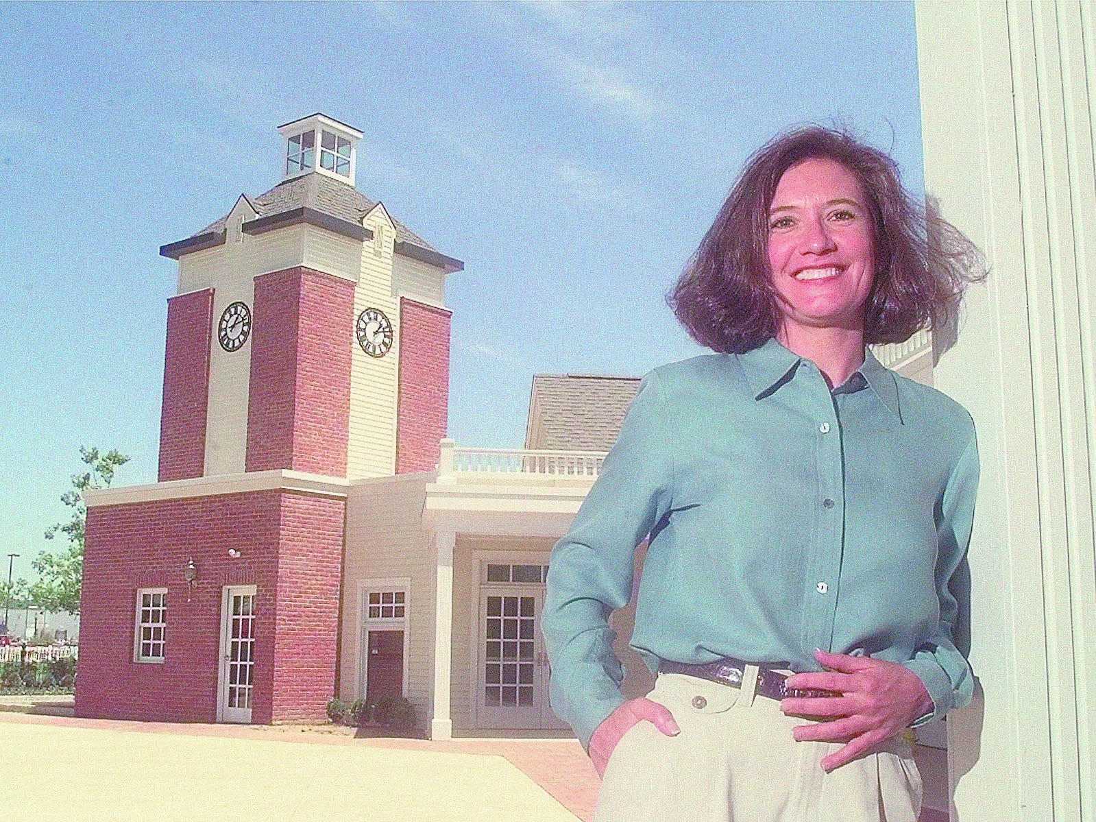 Tami Longaberger poses outside the reception center at the Homestead.
