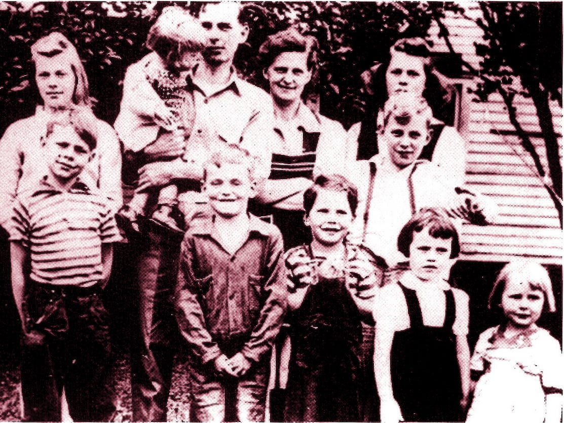 Longaberger family photo shows Dave, third from left, with eight of his brothers and sisters.