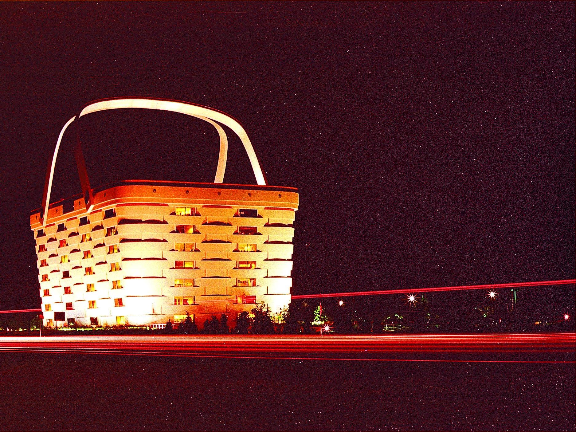 Longaberger Basket Building in Newark at night.