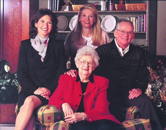 Three generation Longaberger family photo of Dave Longaberger with his mother, Bonnie Mae Longaberger, and daughters Tami and Rachel.