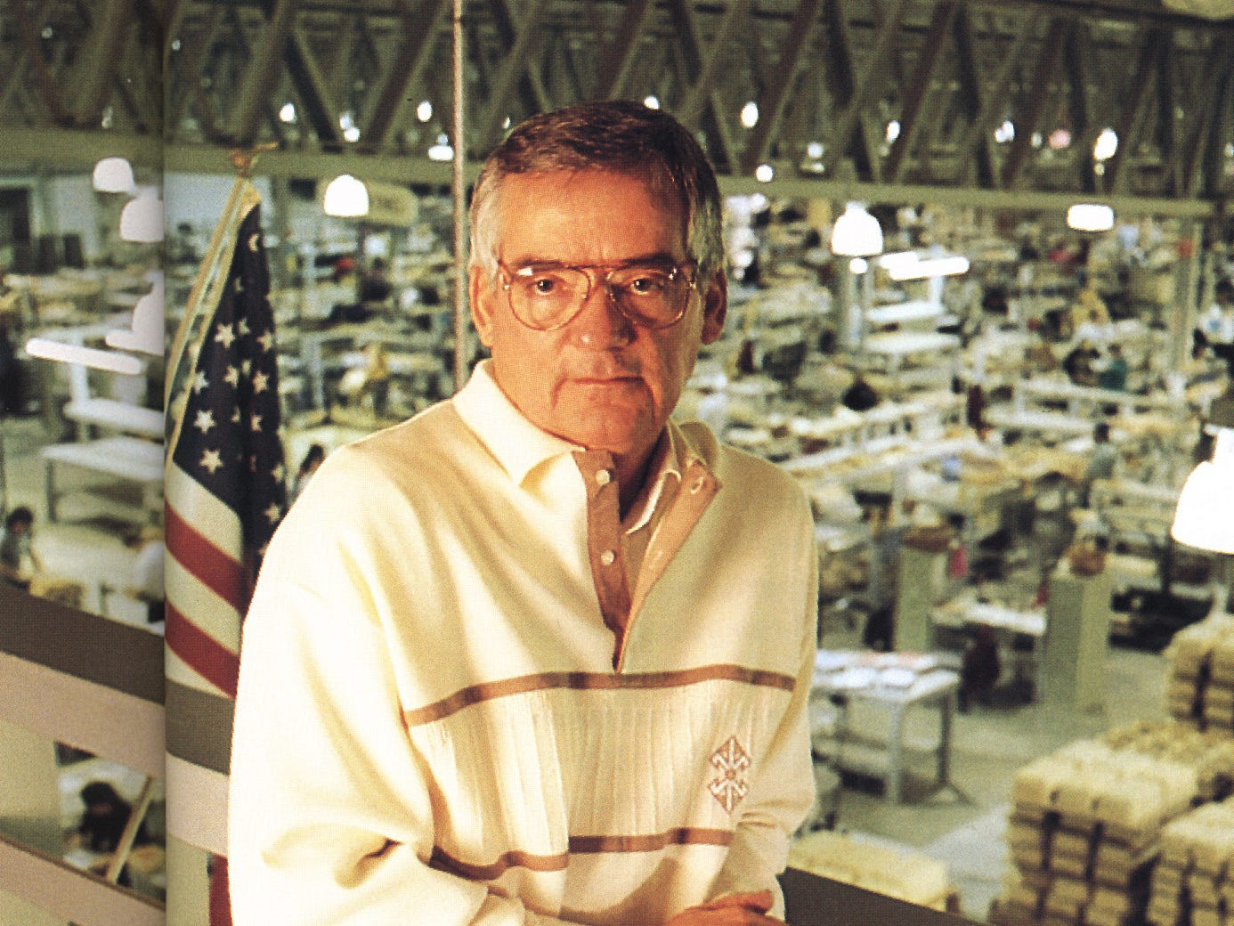 Dave Longaberger overlooking the production floor at the Longaberger Homestead.
