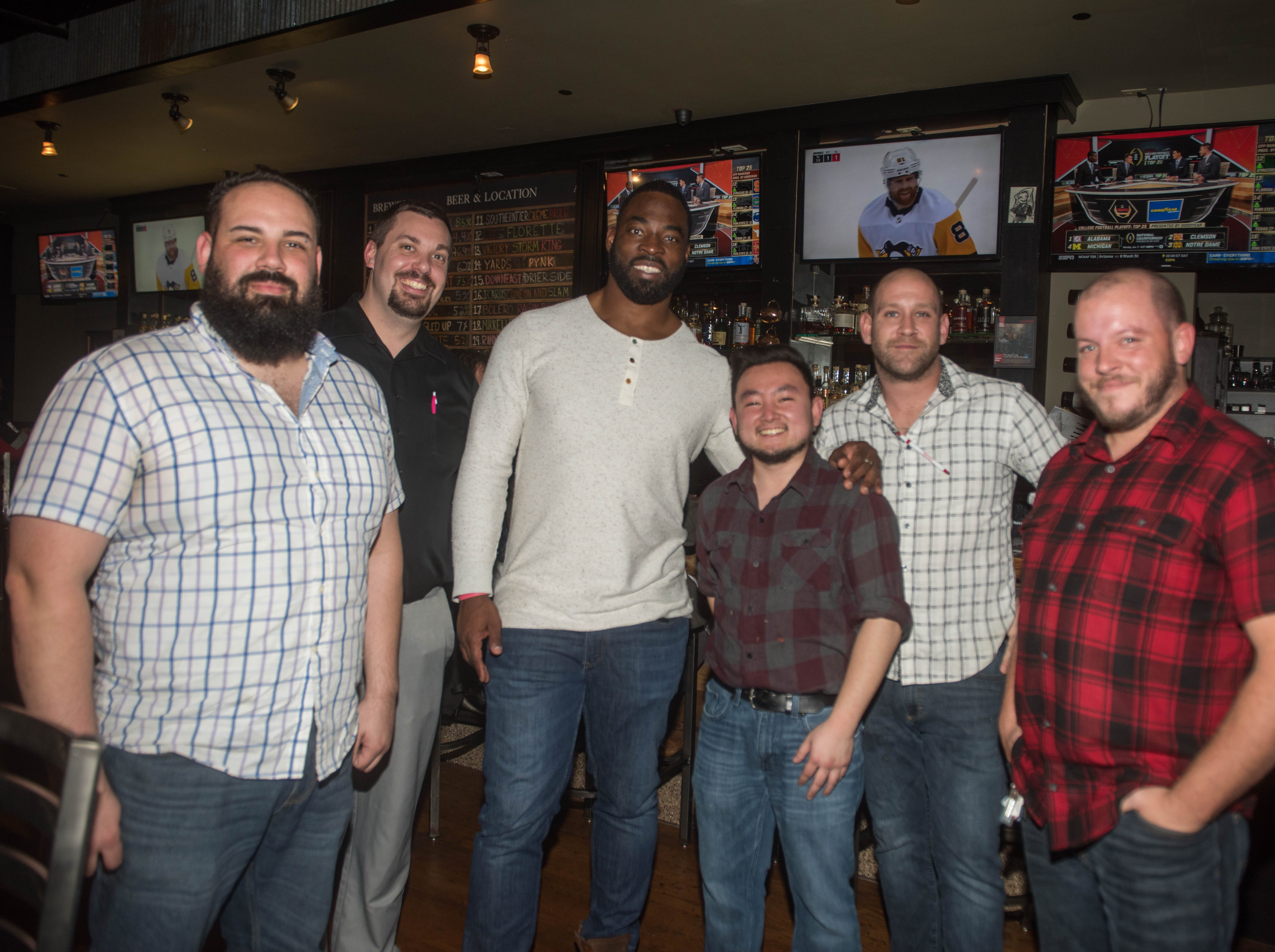 Albert Camacho, Jeffrey Hoffman, Justin Tuck, Chris Ulanday, Brian Bannat and Mike Zahorniak. (201) Magazine and NorthJersey.com held Taste Test Tuesday at he Dog and Cask in Rochelle Park with this month's cover model, Lauran Tuck and former cover model and former NY Giant Justin Tuck. 11/13/2018