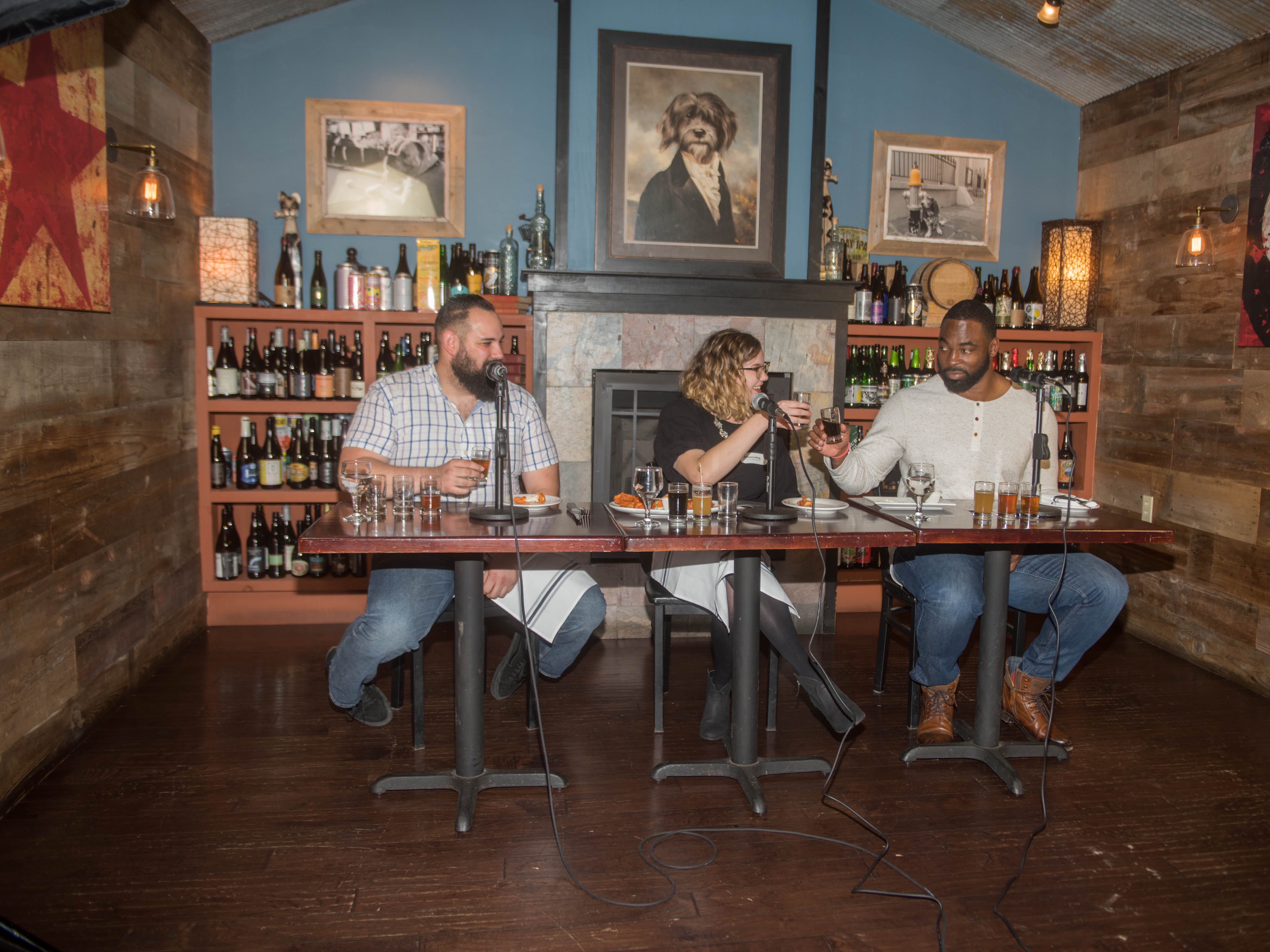 Albert Camacho, Rebecca King and Justin Tuck. (201) Magazine and NorthJersey.com held Taste Test Tuesday at he Dog and Cask in Rochelle Park with this month's cover model, Lauran Tuck and former cover model and former NY Giant Justin Tuck. 11/13/2018