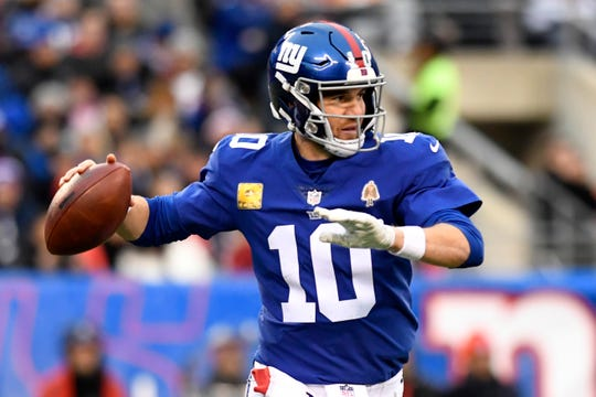 New York Giants quarterback Eli Manning (10) in the second half. The New York Giants defeat the Tampa Bay Buccaneers 38-35 on Sunday, Nov. 18, 2018 in East Rutherford.