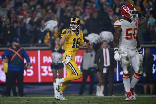 Los Angeles Rams quarterback Jared Goff (16) reacts to a play during the second half of an NFL football game against the Kansas City Chiefs, Monday, Nov. 19, 2018, in Los Angeles. (AP Photo/Kelvin Kuo)