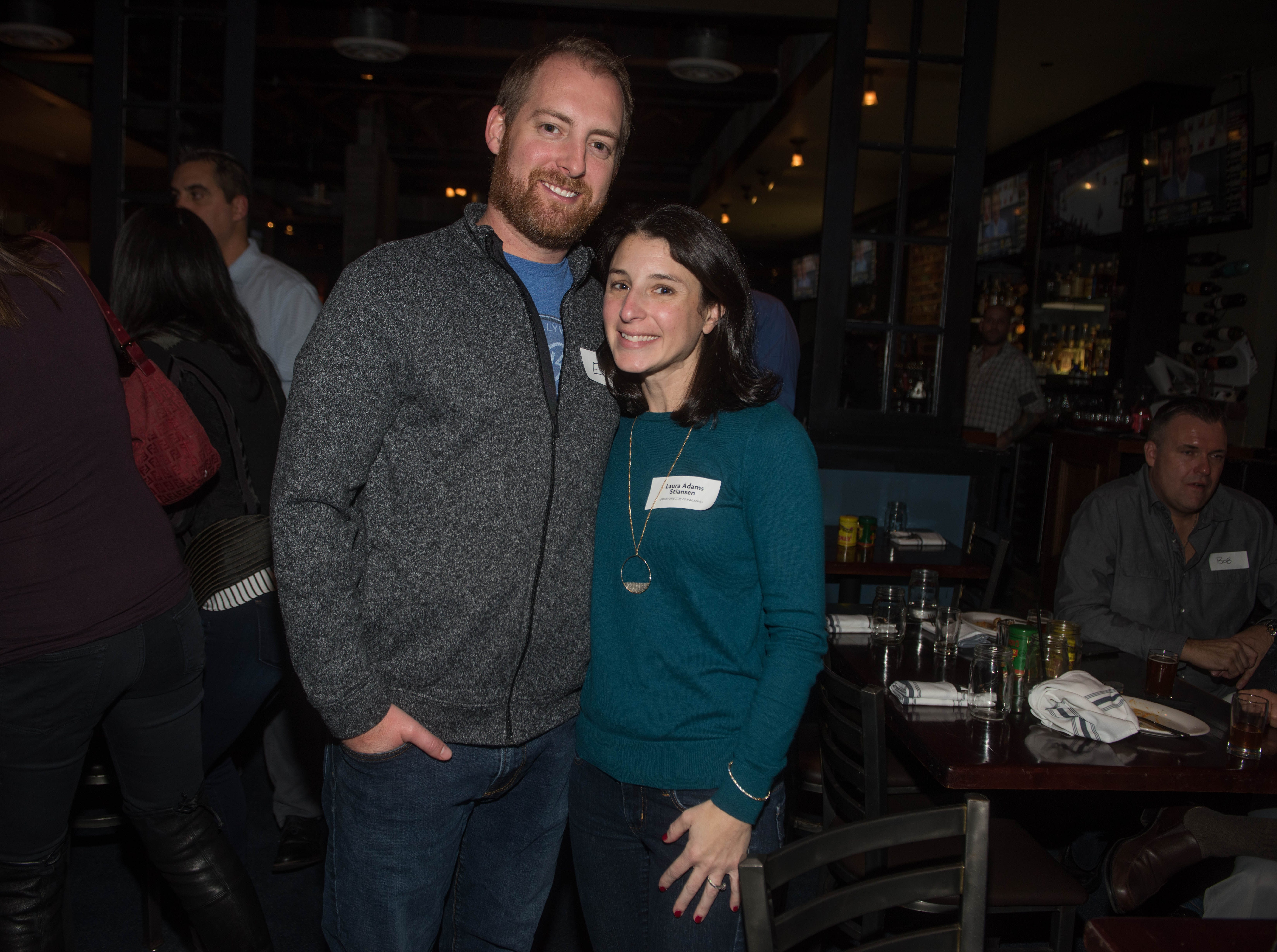 Erik Stainsen and Laura Adams Stainsen. (201) Magazine and NorthJersey.com held Taste Test Tuesday at he Dog and Cask in Rochelle Park with this month's cover model, Lauran Tuck and former cover model and former NY Giant Justin Tuck. 11/13/2018