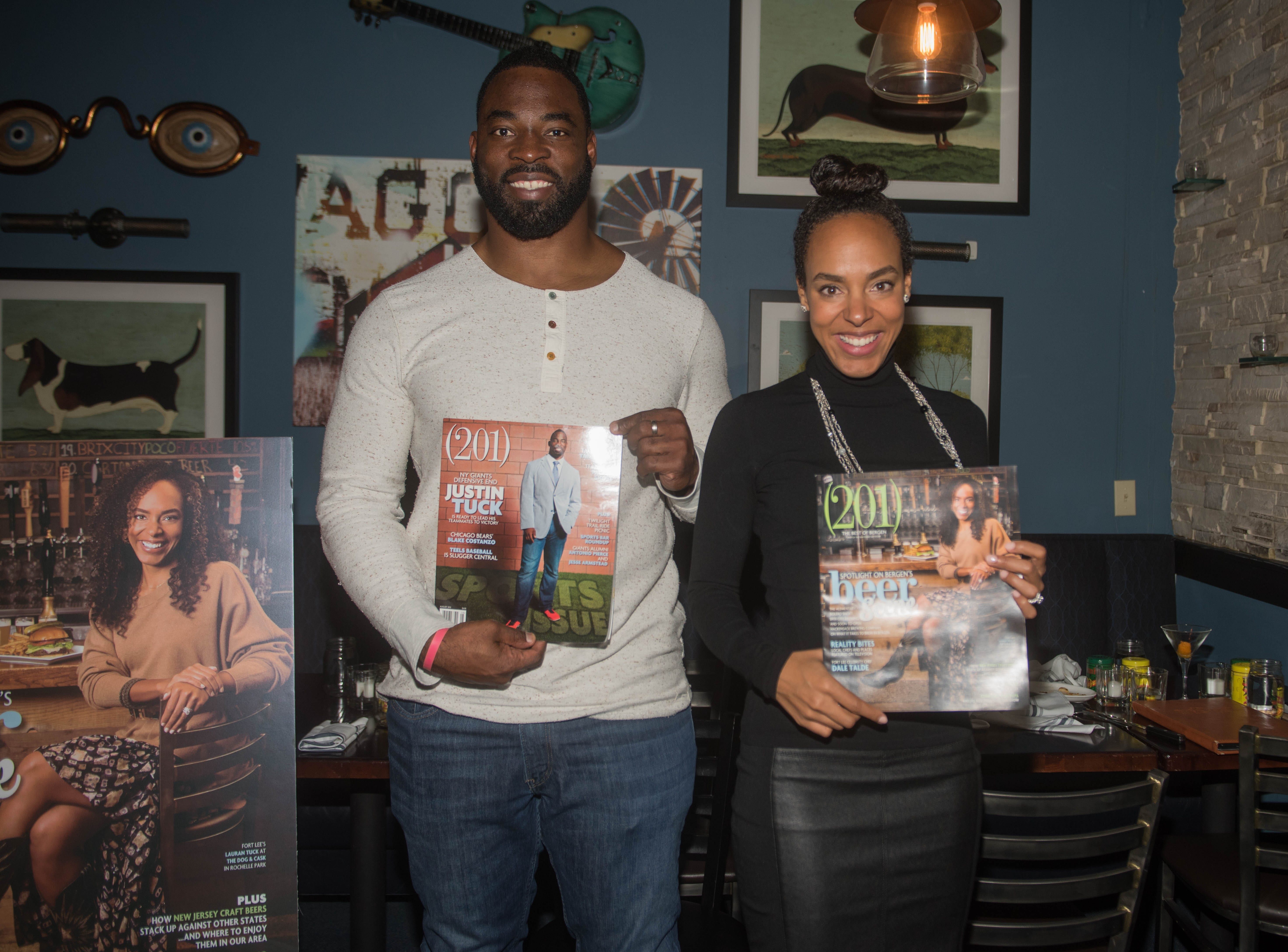 Justin Tuck and Lauran Tuck. (201) Magazine and NorthJersey.com held Taste Test Tuesday at he Dog and Cask in Rochelle Park with this month's cover model, Lauran Tuck and former cover model and former NY Giant Justin Tuck. 11/13/2018