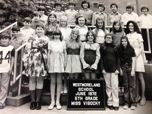 Yvonne Visocky, second row, right, and her fifth-grade class in 1972.
