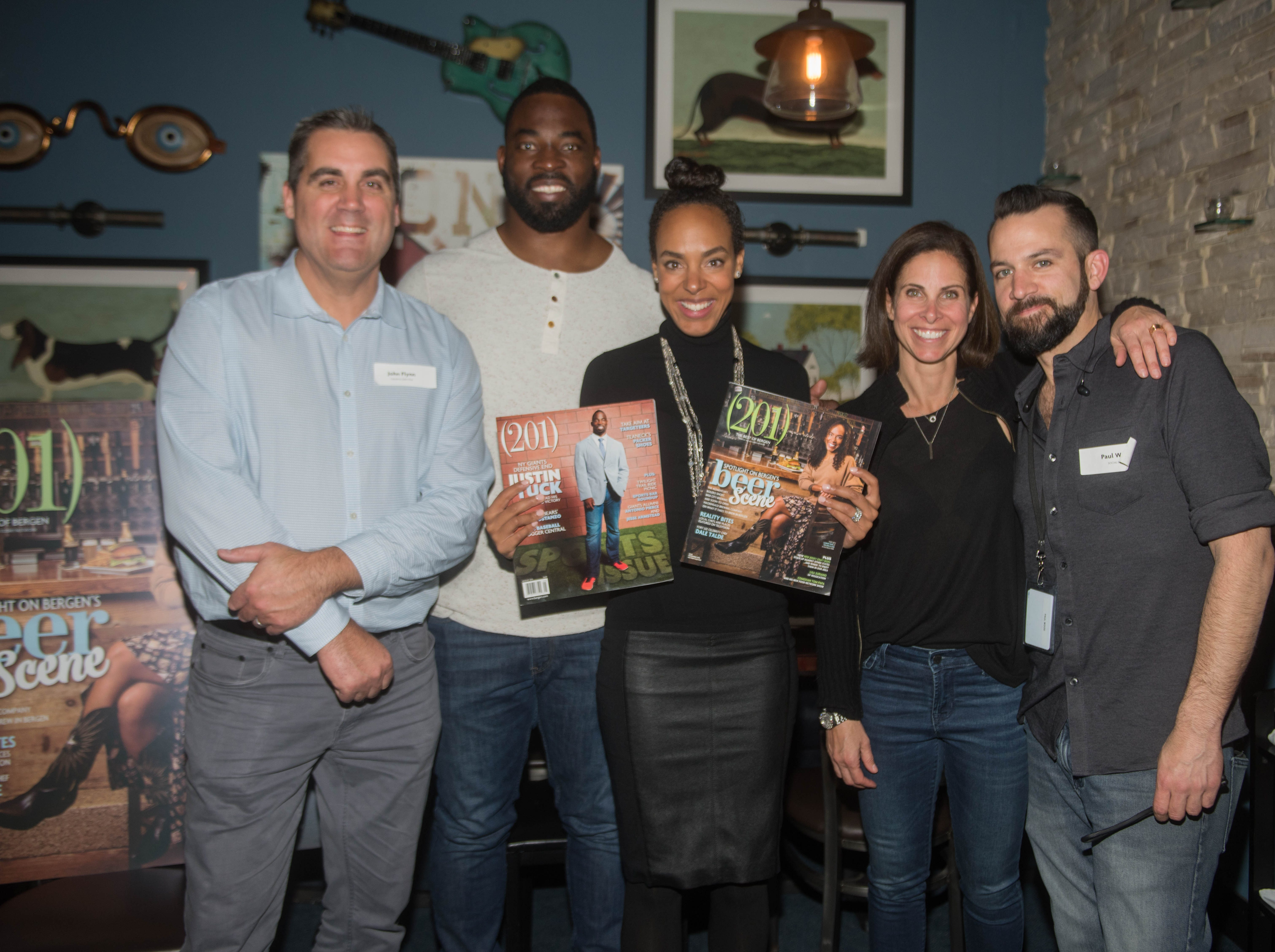 John Flynn, Justin Tuck and Lauran Tuck, T.H. Waldman and Paul Wood. (201) Magazine and NorthJersey.com held Taste Test Tuesday at he Dog and Cask in Rochelle Park with this month's cover model, Lauran Tuck and former cover model and former NY Giant Justin Tuck. 11/13/2018
