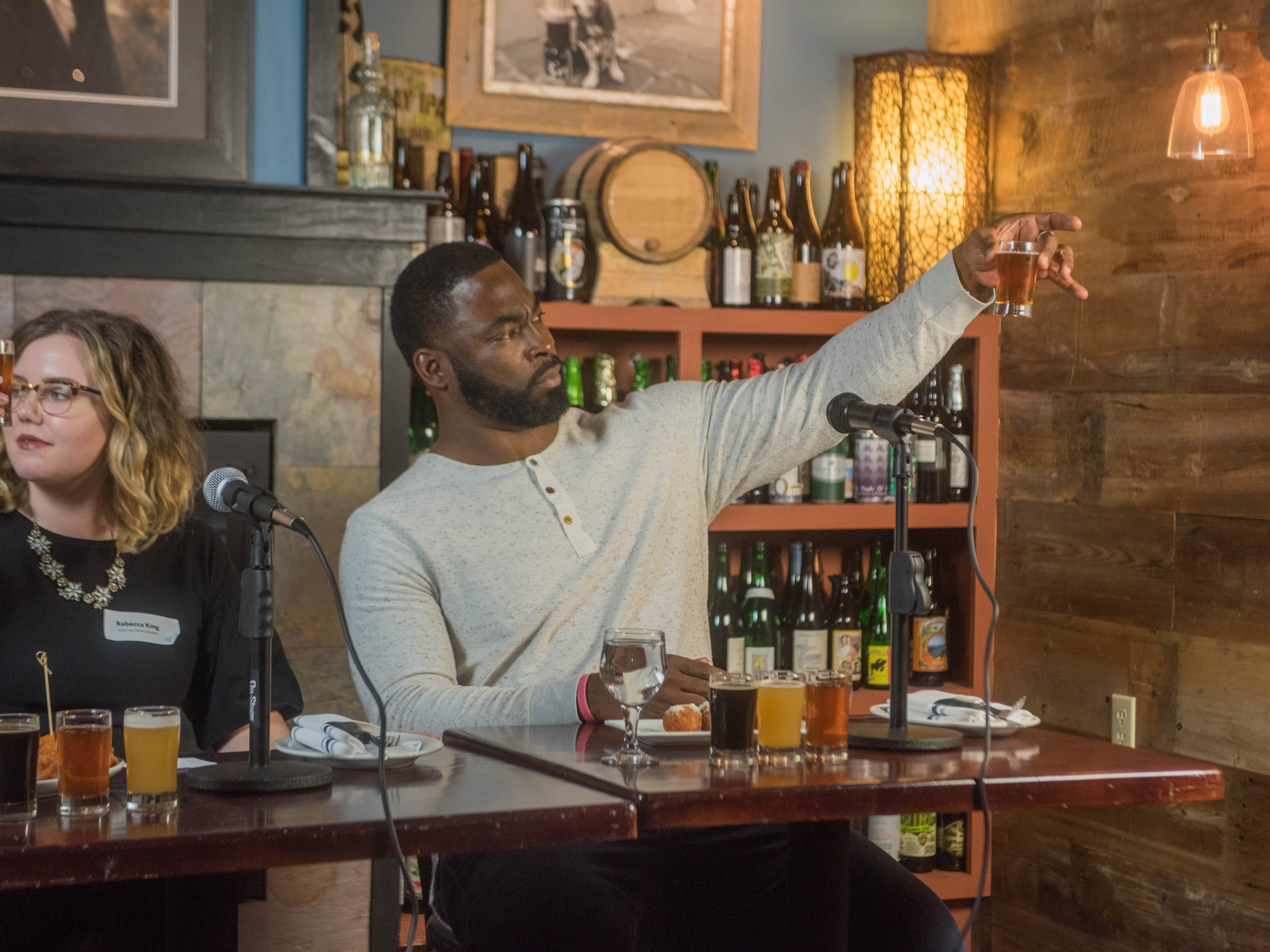 Justin Tuck. (201) Magazine and NorthJersey.com held Taste Test Tuesday at he Dog and Cask in Rochelle Park with this months cover model, Lauran Tuck and former cover model and former NY Giant Justin Tuck. 11/13/2018