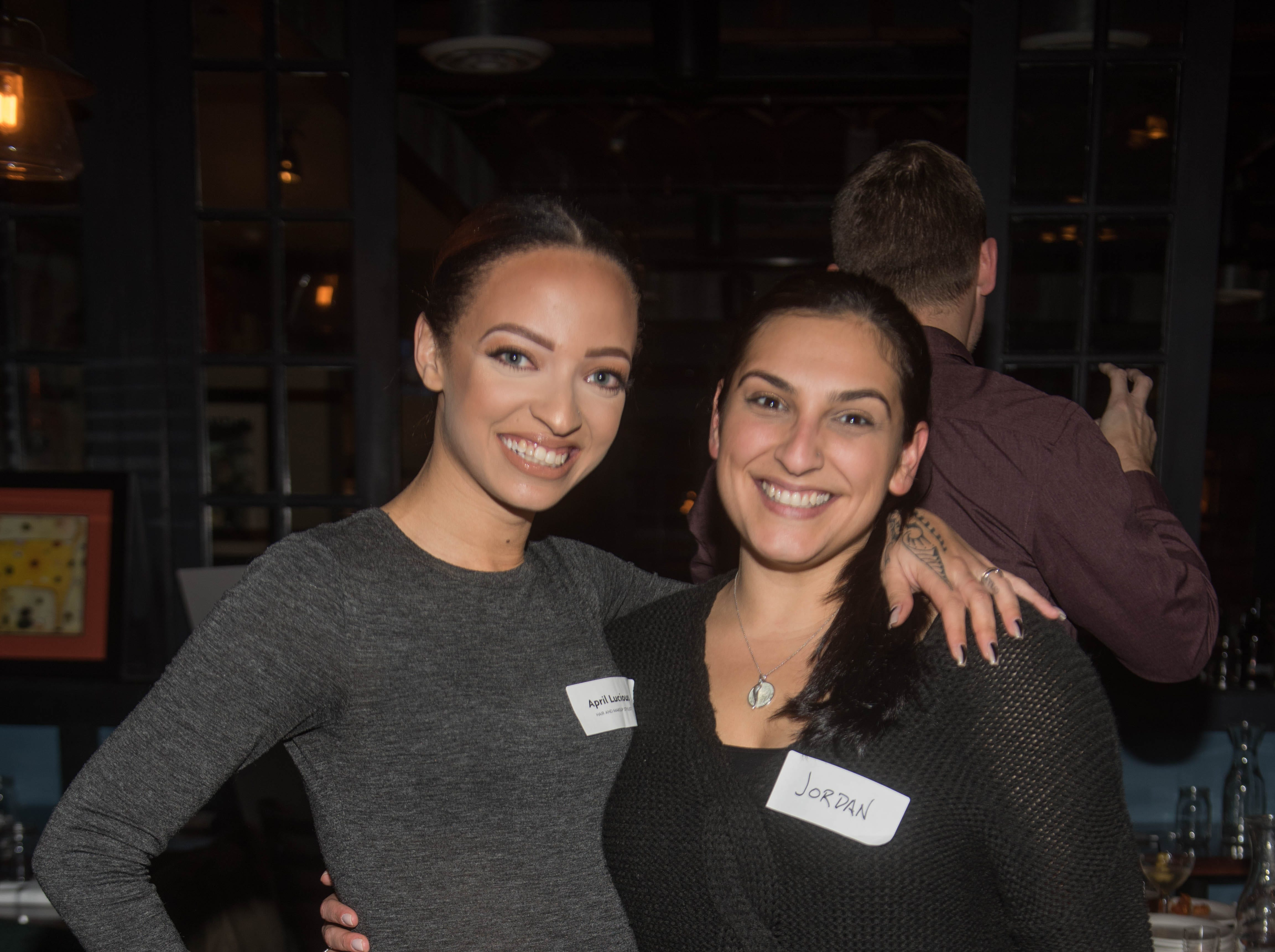 April Lucious and Jordan Murphy. (201) Magazine and NorthJersey.com held Taste Test Tuesday at he Dog and Cask in Rochelle Park with this month's cover model, Lauran Tuck and former cover model and former NY Giant Justin Tuck. 11/13/2018