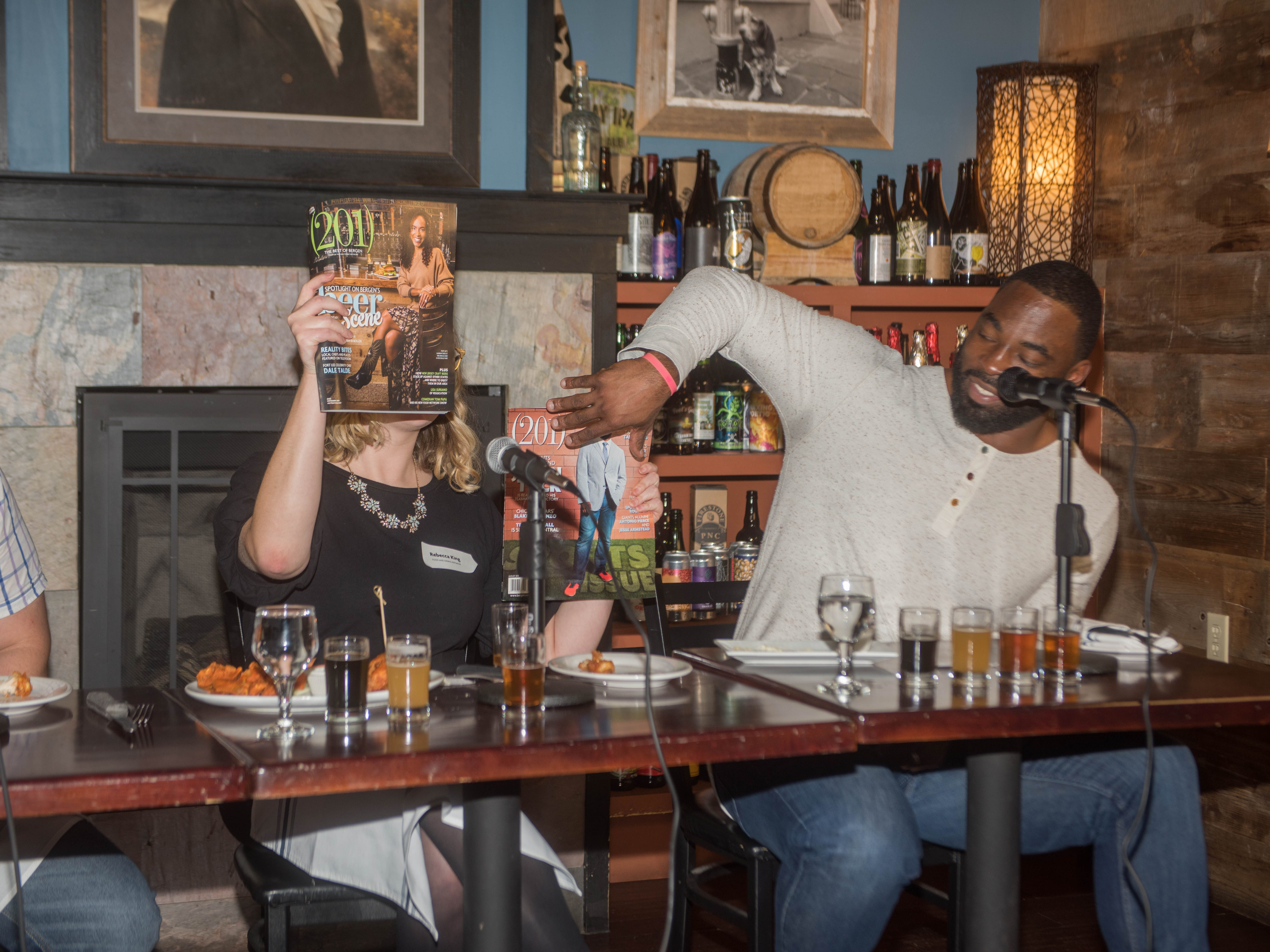 Rebecca King and Justin Tuck. (201) Magazine and NorthJersey.com held Taste Test Tuesday at he Dog and Cask in Rochelle Park with this month's cover model, Lauran Tuck and former cover model and former NY Giant Justin Tuck. 11/13/2018