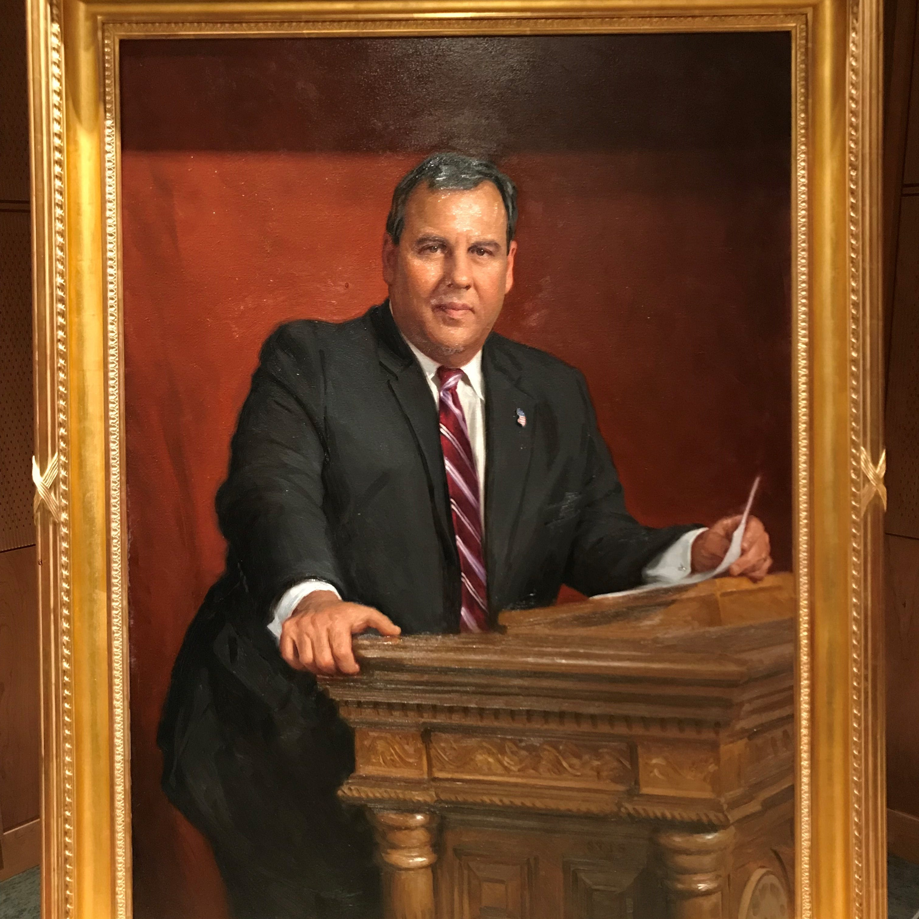 Chris Christie's official NJ portrait, most expensive ever, depicts man behind the lectern