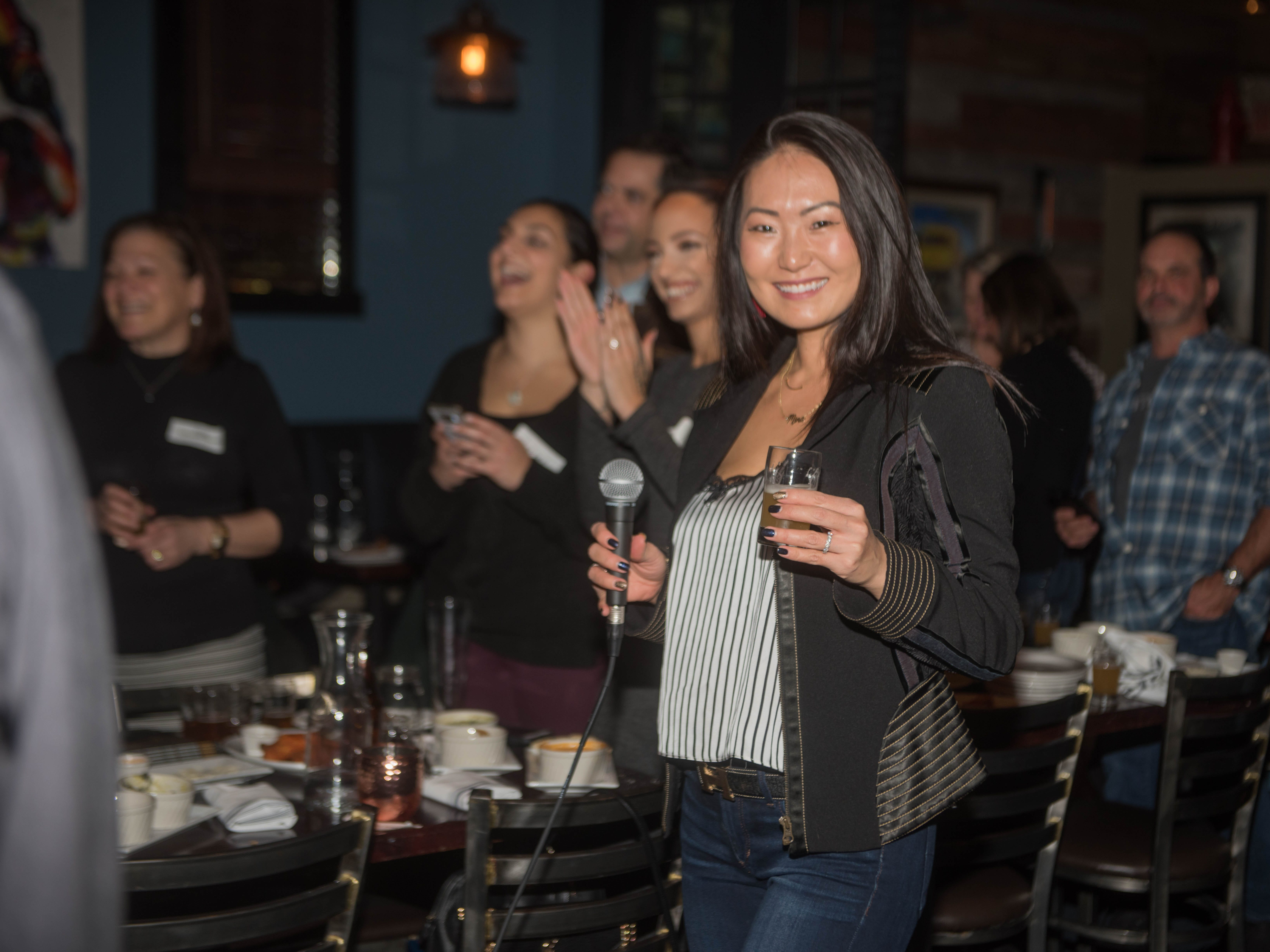 Mina Barany. (201) Magazine and NorthJersey.com held Taste Test Tuesday at he Dog and Cask in Rochelle Park with this month's cover model, Lauran Tuck and former cover model and former NY Giant Justin Tuck. 11/13/2018