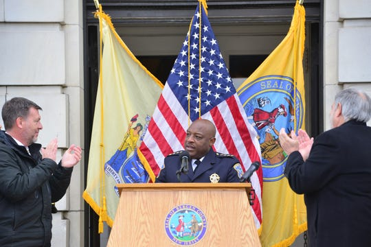 Anthony Cureton, Bergen County Sheriff, gives his speech on the front steps of the Bergen County Courthouse in Hackensack on Tuesday morning November 20, 2018.