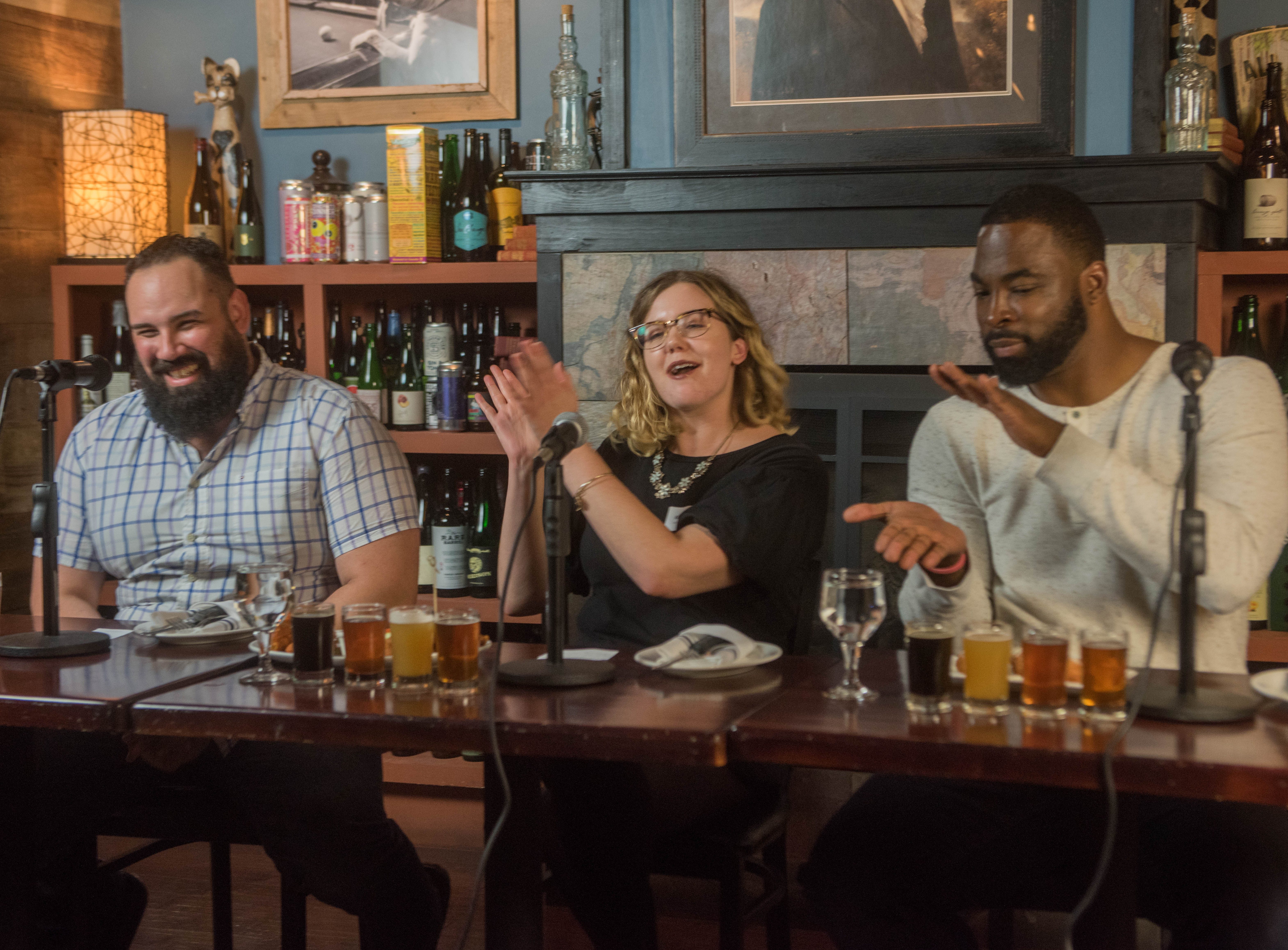 Albert Camacho, Rebecca King and Justin Tuck. (201) Magazine and NorthJersey.com held Taste Test Tuesday at he Dog and Cask in Rochelle Park with this months cover model, Lauran Tuck and former cover model and former NY Giant Justin Tuck. 11/13/2018