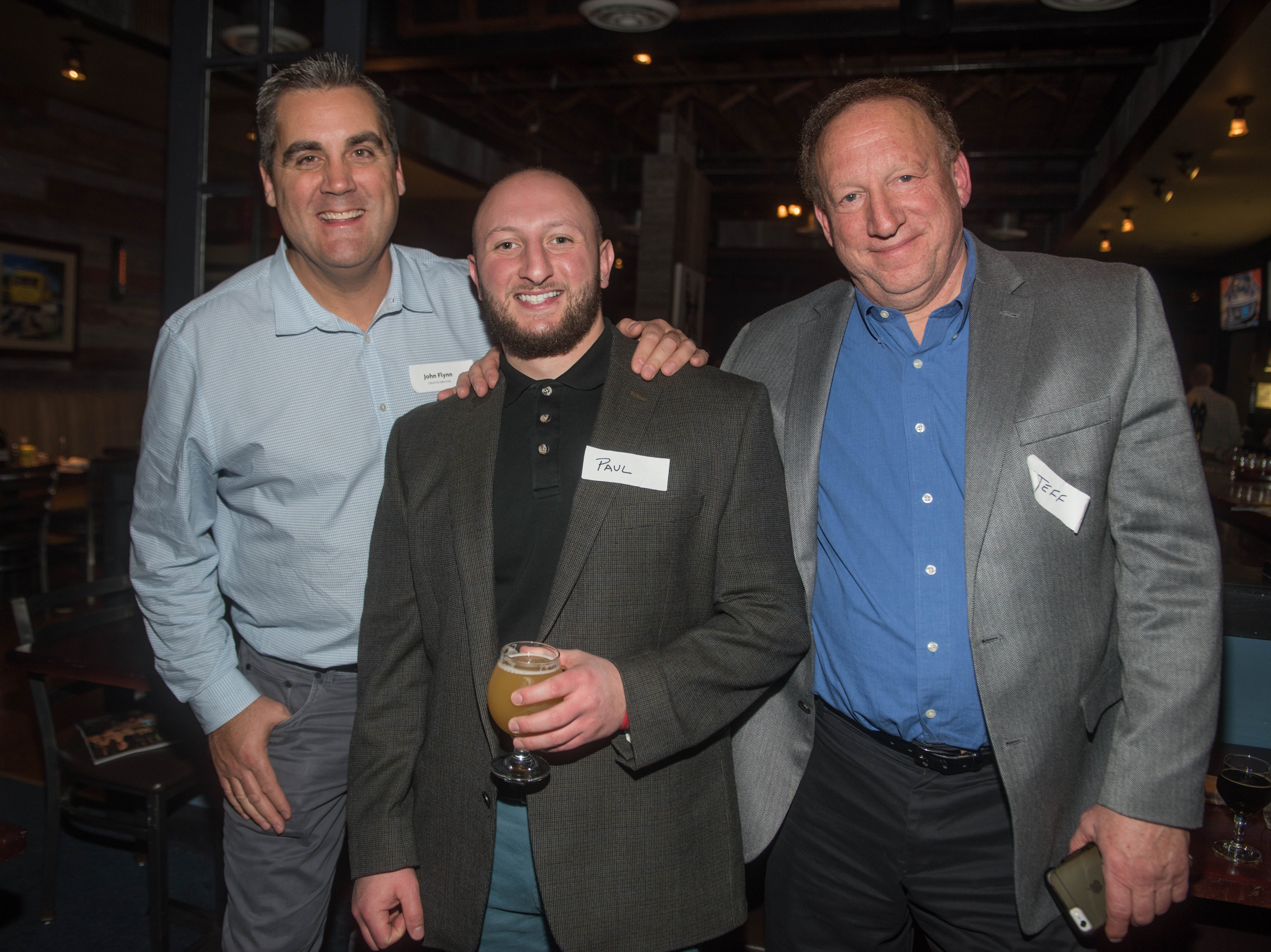 John Flynn, Paul Adam and Jeff Adam. (201) Magazine and NorthJersey.com held Taste Test Tuesday at he Dog and Cask in Rochelle Park with this month's cover model, Lauran Tuck and former cover model and former NY Giant Justin Tuck. 11/13/2018
