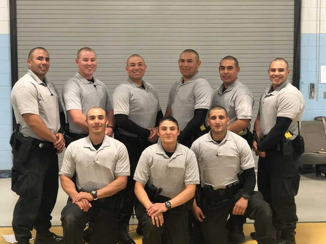 Pictured from left, top: Michael Hogue, Jacob Bridges (New Mexico State University Police Department), Aaron Martinez, Armando Valenzuela Jr., Abel Sanchez, Chipper Campos; and from left, bottom: Francisco Marrufo, Jenoside Barnes and Gilbert Garcia.