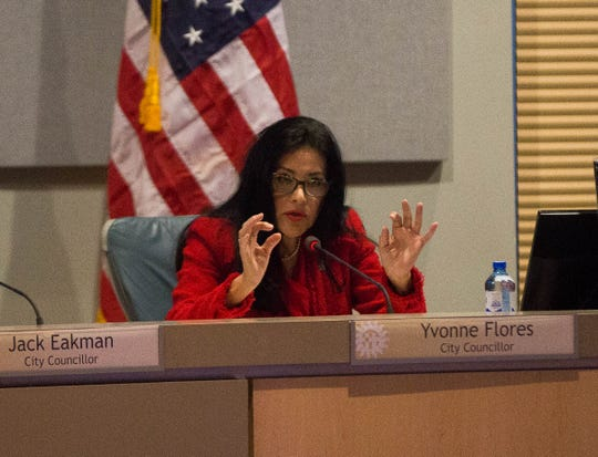 Yvonne Flores, city councillor for district 6, voicing her opposition to a panhandling ordnance, Monday November 19, 2018.