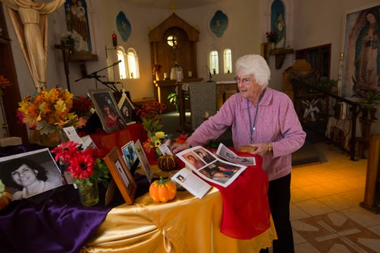 Sister Marie-Paule Willem shows the All Saints Day altar set up in the San Jose de Picacho Catholic Church, on Nov. 20, 2018. Willem was honored with the 2018-2019 Lumen Christi Award, a prestigious award with in the Catholic Church. She leads the San Jose de Picachio Catholic Church  and was instrumental in reviving not only the church building but the congregation.