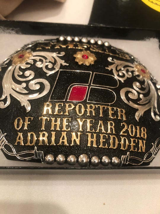 Current-Argus reporter Adrian Hedden was given this commemorative belt buckle when he was awarded Reporter of the Year by the New Mexico Farm and Livestock Bureau.