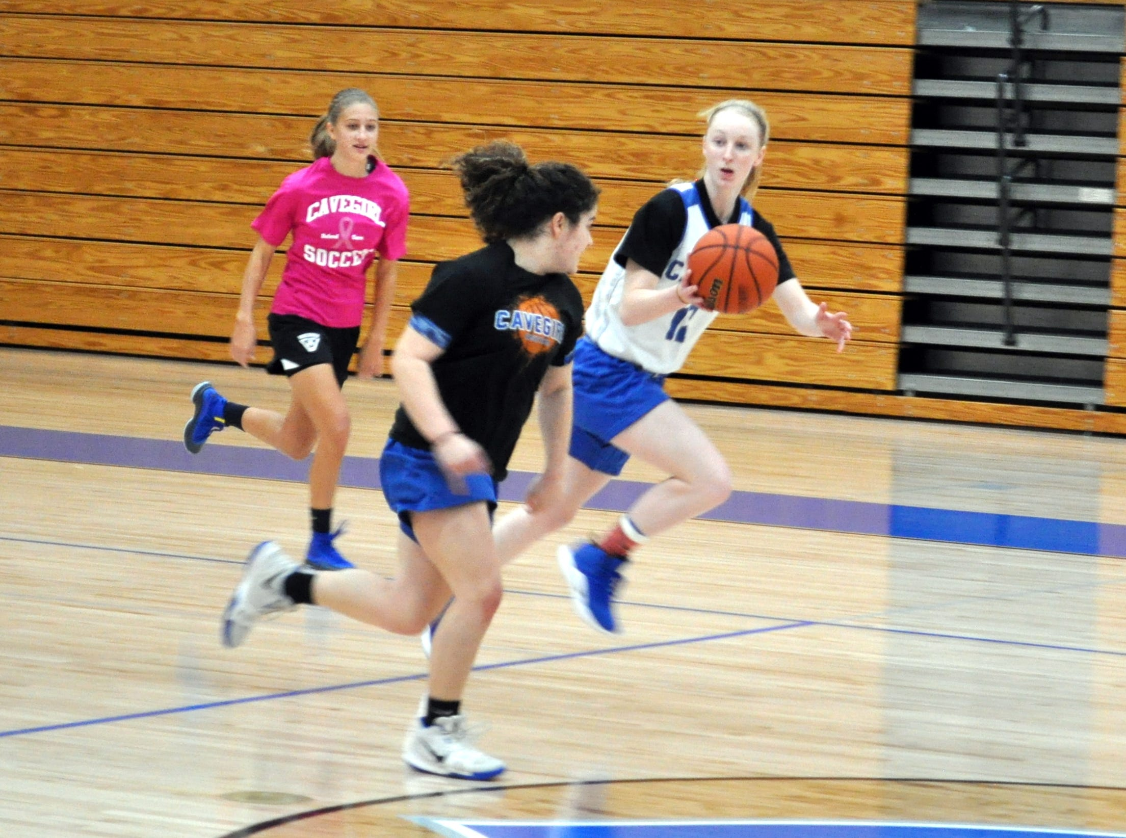 Carlsbad senior Carsyn Boswell leads a fastbreak during Tuesday's practice. Carlsbad opens its season on the road Tuesday against Lovington.