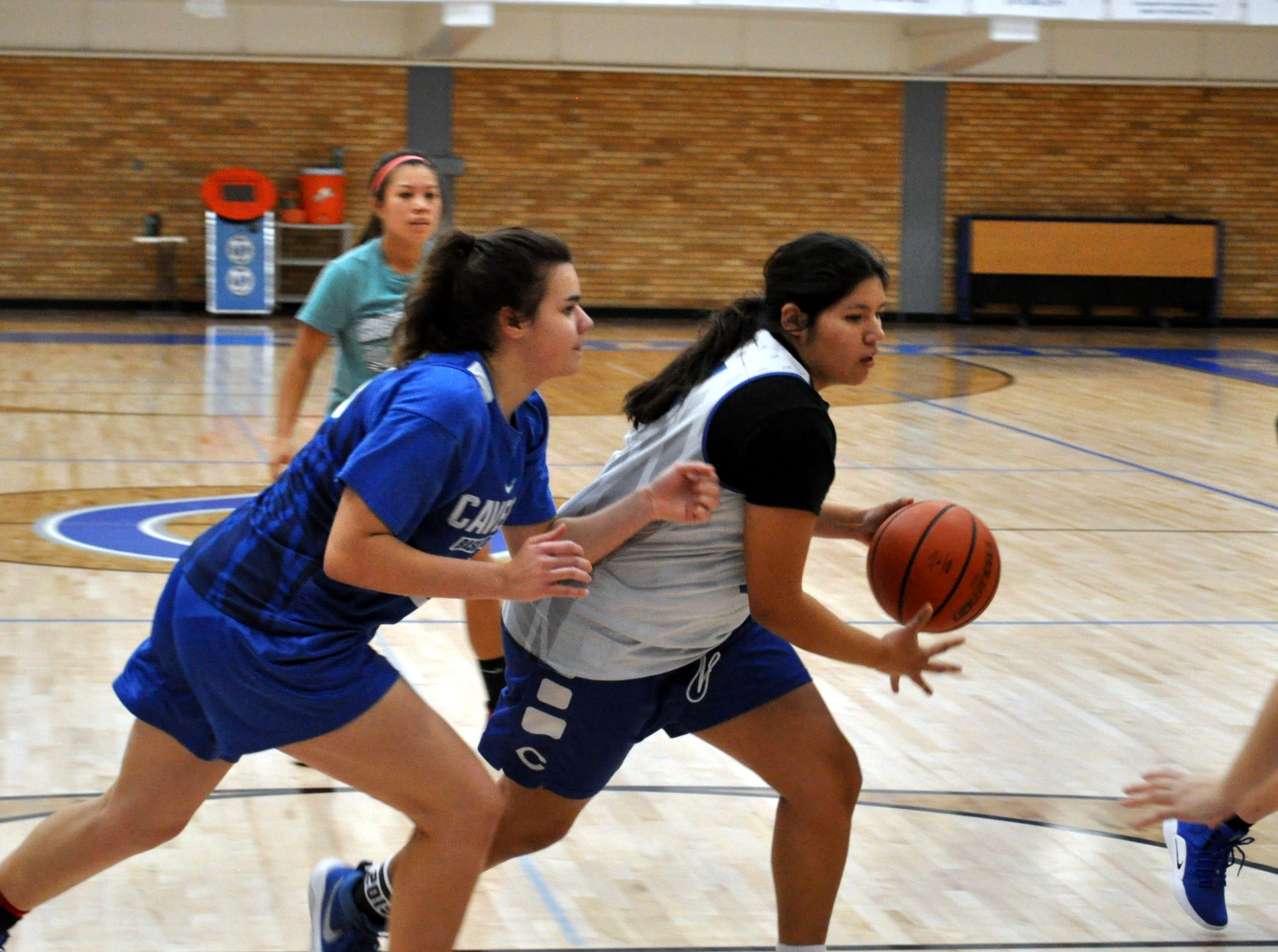 McKenzie Ruiz drives the lane during Tuesday's morning practice. Carlsbad opens its season on the road Tuesday against Lovington.