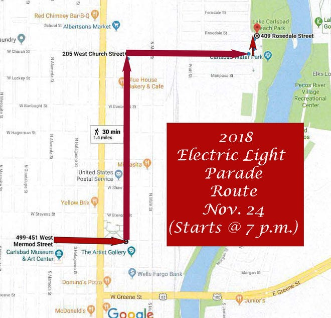 2018 Electric light parade route.