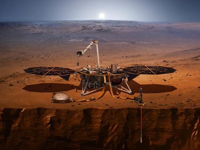 An artist illustration of the InSight lander on Mars. InSight, short for Interior Exploration using Seismic Investigations, Geodesy and Heat Transport, is designed to give the Red Planet its first thorough check up since it formed 4.5 billion years ago. The mission will look for tectonic activity and meteorite impacts, study how much heat is still flowing through the planet and track Mars' wobble as it orbits the sun. While InSight is a Mars mission, it's more than a Mars mission. InSight will help answer key questions about the formation of the rocky planets of the solar system.