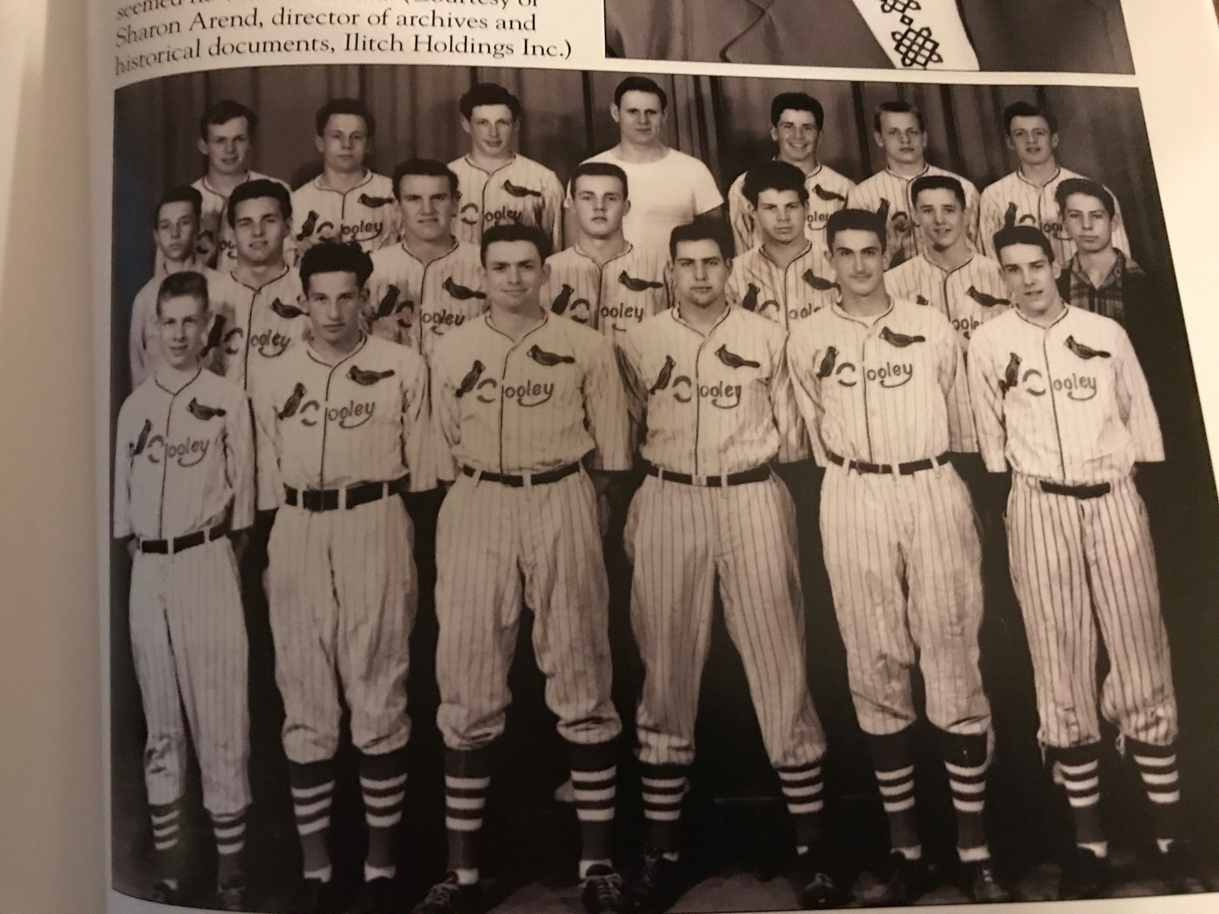 A peek inside Joseph McCauley's new book shows this team photo of the Cooley Cardinals baseball team. In the front row (second from left) is Mike Ilitch.