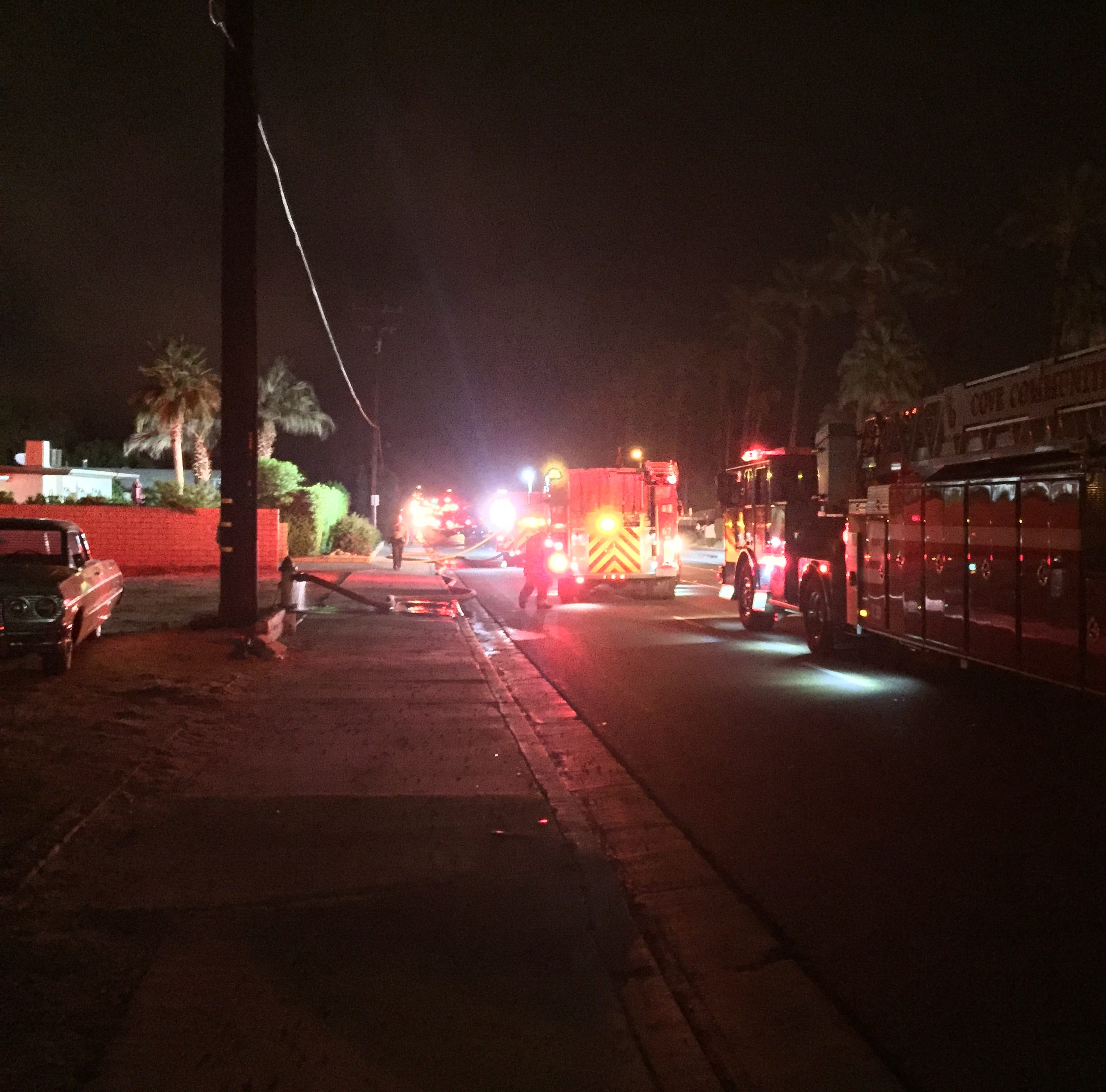 Power pole, structure fire contained in Palm Desert